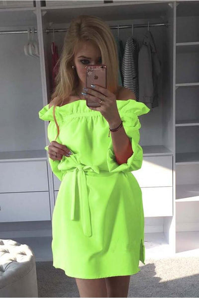 Women Neon Green Dress Cute Ruffles Slash Neck Bow Belt Pin Up Dress Puff Sleeve Kawaii Short Dress Women Summer Dress