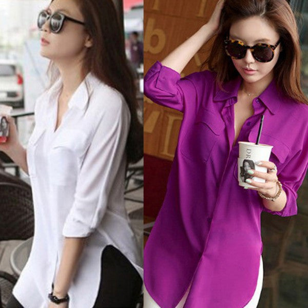 Online discount shop Australia - Dashion Womens Long Sleeve Chiffon Shirt Turn-down Collar Casual Loose Tops Blouse