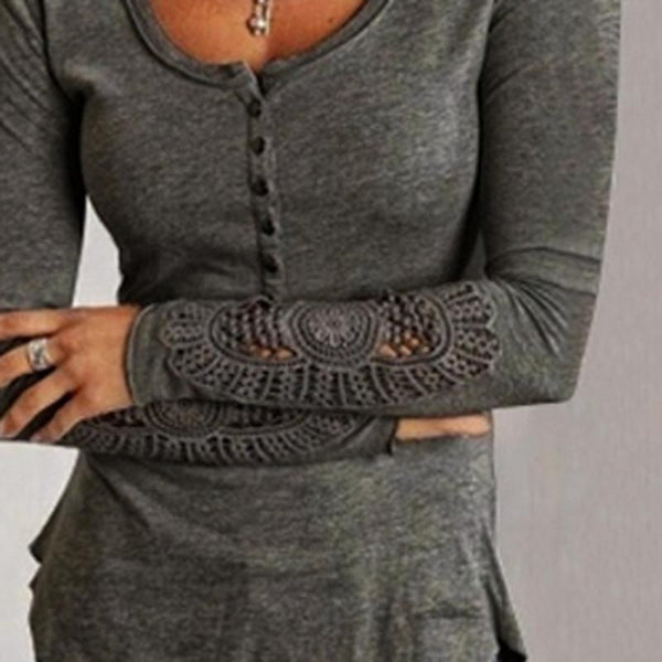 Women Blouses Fashion Long Sleeve Lace Blouse Embroidery Crochet Hollow Out O Neck Plus Size Tops Shirt