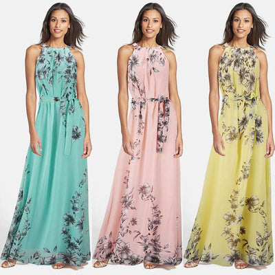 Summer Style Women Long Dress O Neck Floral Print Chiffon Maxi Dress Elegant Casual Boho Party Dresses Vestidos With Belt