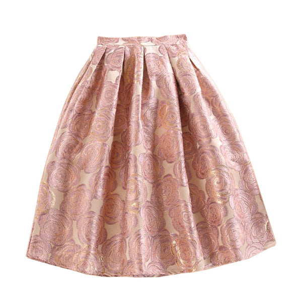 be912e56b04a Pink Floral Jacquard High Waist Print Pleated Maxi Skirt Casual A-Line  Skater Women Tulle