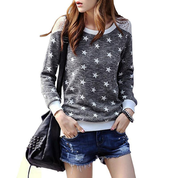 Women Lace Shirts New Arrival Casual Patchwork Stars O-neck Long Sleeve Fashion Ladies Tops