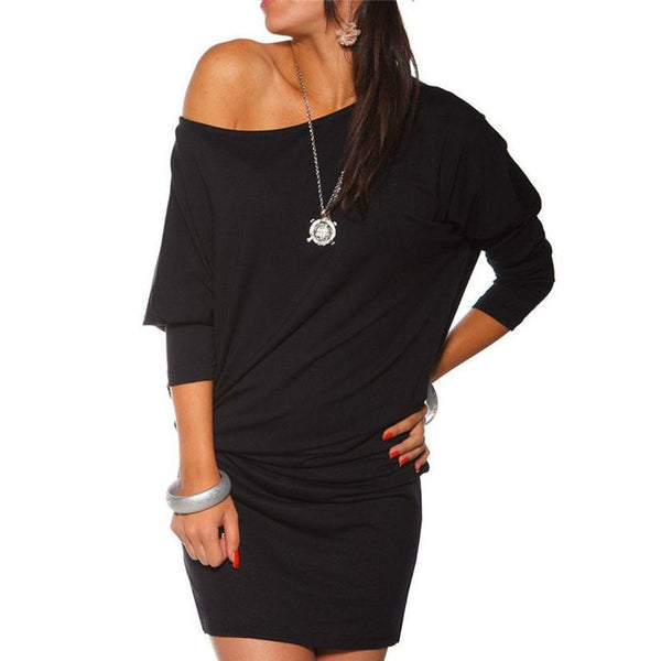 summer dress sexy slim Womens Long Sleeve Off Shoulder Mini Batwing Tunic Dress nor060722