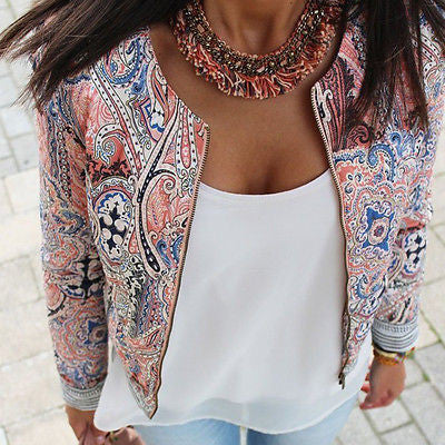 New Fashion Women's Floral Slim Casual  Suit Jacket Coat Outerwear