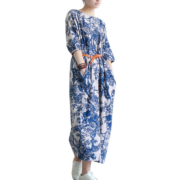 SERENELY Summer Dress Plus Size Women Dress Loose Casual Dresses Vintage Printed Linen Dress Party Dresses D04