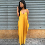 Online discount shop Australia - Fashion Summer Beach Dress women long dress Strapless Casual Loose Maxi Dress Sexy solid V-neck dress Plus Size PP943M