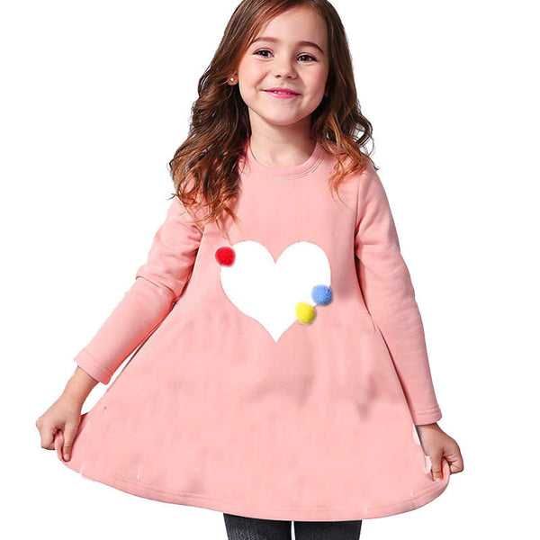 Online discount shop Australia - 2-8age girl dress girls long sleeves fall princess dress O-neck red navy girl clothes children heart clothing