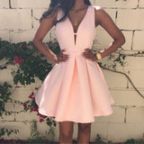 Pink Summer Ladies Fashion Backless Deep V-neck Sleeveless A-line Women's Dress Club Evening Party Mini Dresses