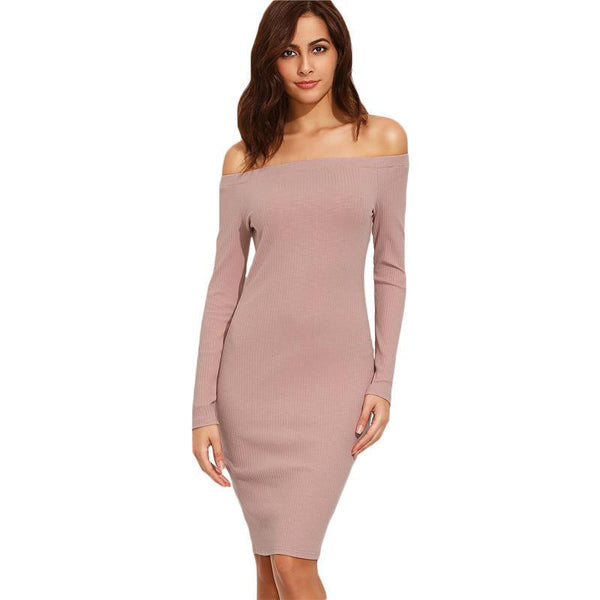SheIn Elegant Dresses For Woman Autumn Ladies Plain Pink Off The Shoulder Long Sleeve Knee Length Sheath Dress