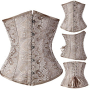 Underbust Waist Training Bone Floral Shaper Lace-up Zipper Corset Girdle Trainer