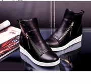 Online discount shop Australia - Fashion Wedges Ankle Boot Causal Shoes For Woman Fall Women Shoes Leather Black Silver Red Botas Mujer Large Size 42
