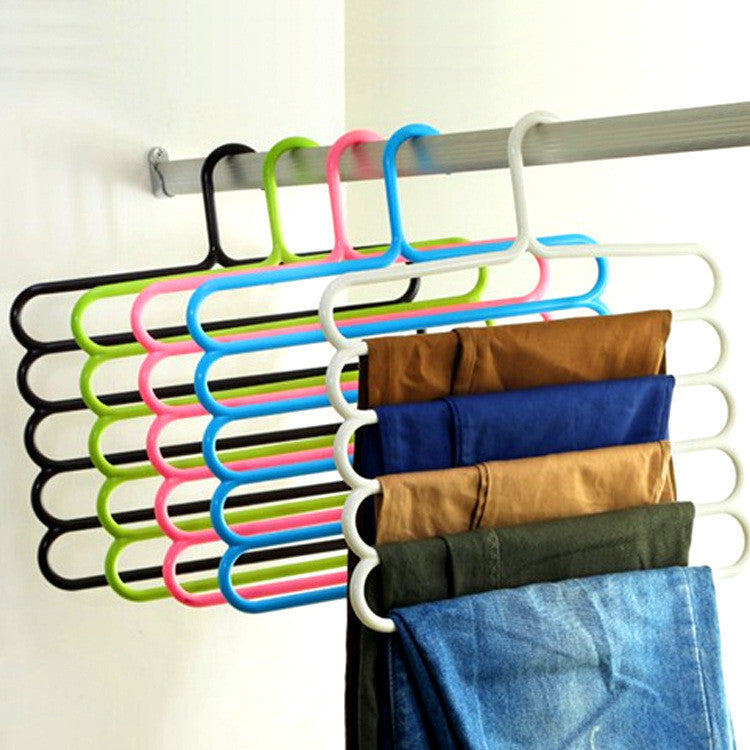 Pants Hangers Holders For Trousers Towels Clothes Apparel Hangers Five-layer Space Saving -Version 2Greena