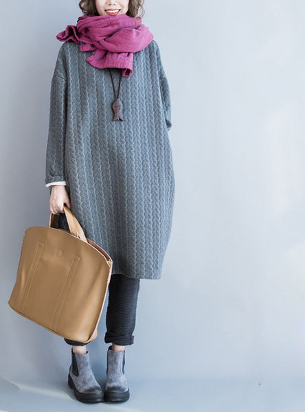 Online discount shop Australia - Autumn Plus Size Women Dress Cotton Full Sleeve Long Grey Casual Tops&Tees Striped Print Solid Fashion Midi Female New Dresses