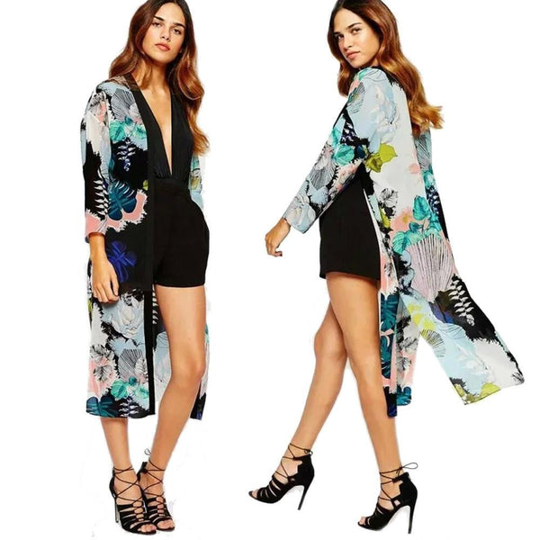 2f9253d5cad Women Chiffon Blouses Boho Kimono Cardigan Floral Print Long Sleeve Casual  Long Beach Cover Up Tops