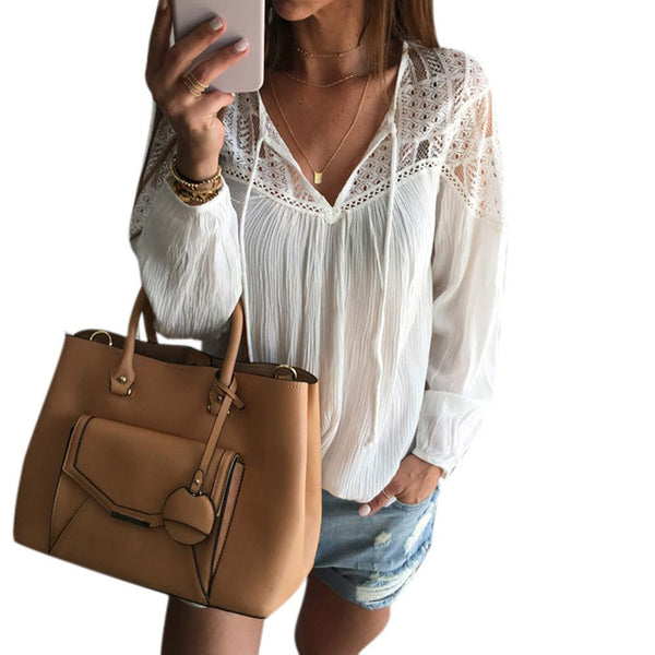 Women Chiffon Blouse Fashion Boho Lady Sexy Loose Lace Tops shirt Casual Shirt Women clothes