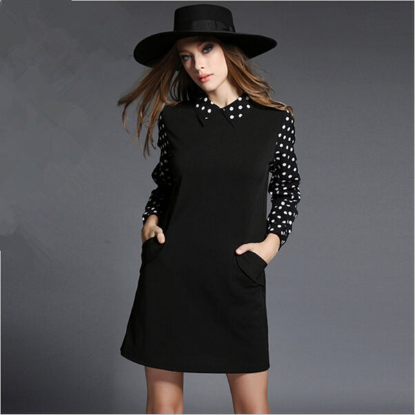 Online discount shop Australia - Euro Style 4XL Plus Size Women Black Dress Autumn Winter Vestidos Long Sleeve Casual Loose Dot Dress Roupas Femininos 51440