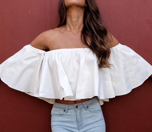 trendy white ruffles off shoulder crop tops cotton flare sleeve girls sexy tops plus size loose-fit women shirt blouse