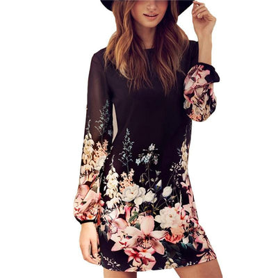 Women Spring Style Newest Shift Dresses Beautiful Black Long Sleeve Floral Print Round Neck Chiffon Short Dress