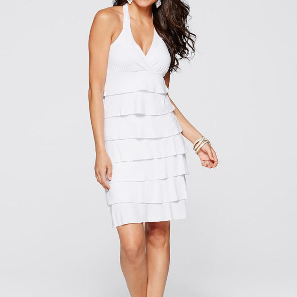 Women Casual Dress Cascading Ruffle Knee-Length V-Neck Off the Shoulder Solid White Party Dress