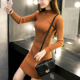 Women Winter Dresses Black Red Warm Sweater Dress Turtleneck Long Sleeve Skinny Split Pencil Knitted Office Dress