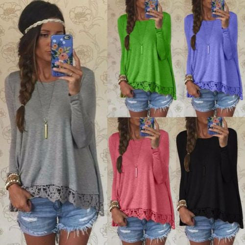New Women's Long Sleeve Shirt Casual Loose Cotton Tops Lady