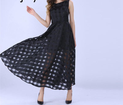 Sisjuly Maxi Summer Plaid Women Dress New Long Organza day Dress Vestidos De Festa Satin Fashion style black women dresses