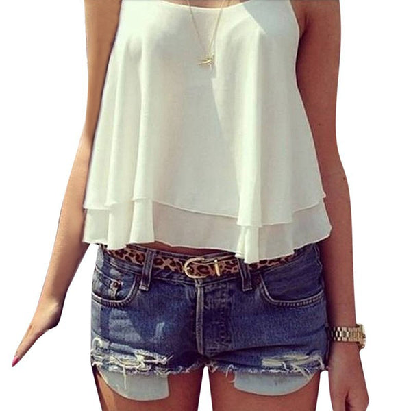 Women Strap Tank Tops Sleeveless White Chiffon Casual T-shirt Vest Crop Tops Camis S M L XL 2XL 3XL 4XL