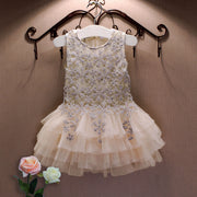New Lace Vest Girl Dress Baby Girl Princess Dress 3-7 Age Chlidren Clothes Kids Party Costume Ball Gown Beige