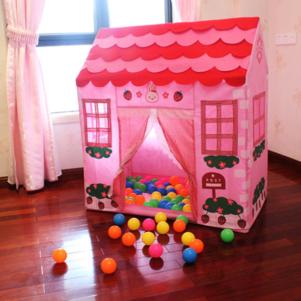 Online discount shop Australia - Fun Tent for Kids Plastic Playhouse Girl City House Kids Secret Garden Pink Play Tent Pink