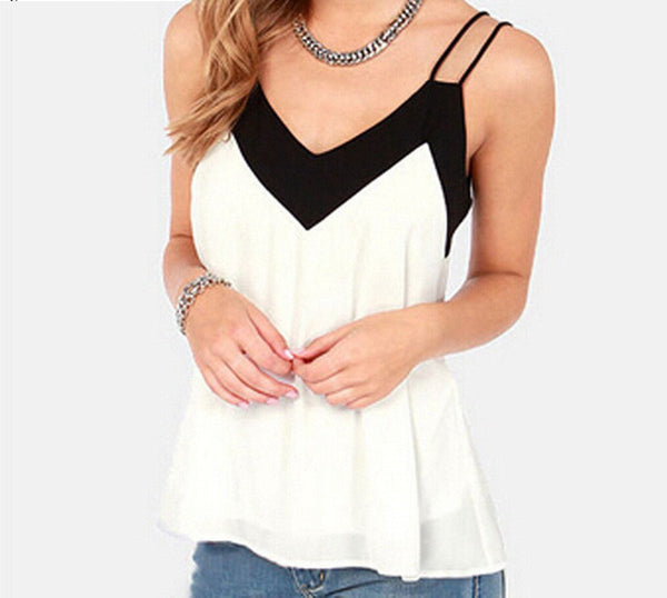 Style Tank Top Vest Women V-Neck Sleeveless Halter Blouse Shirt Sexy Casual Loose Tops Chiffon Plus Size