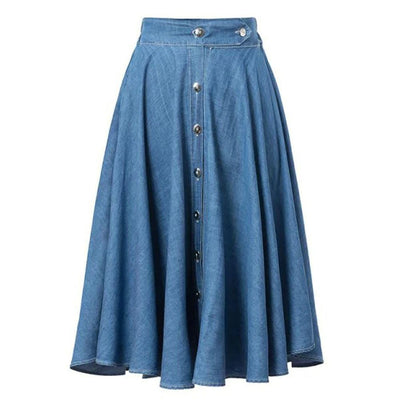 Women Fashion Ladies Brand Blue High Waist Button Through Midi Denim Casual Vintage Pleated Denim Skirt