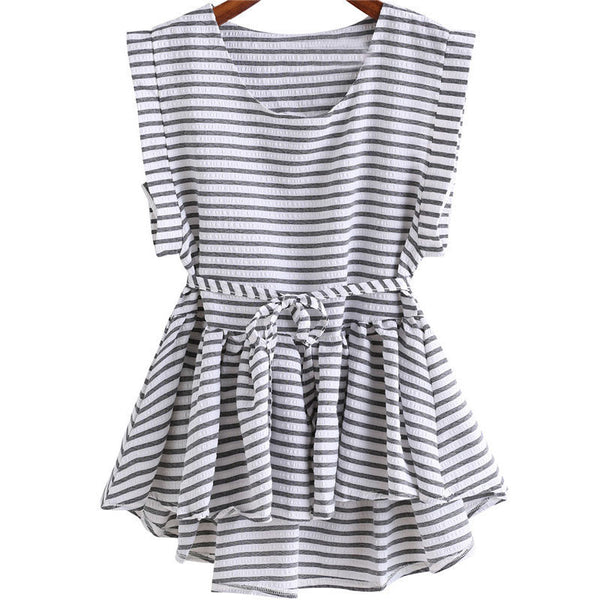 Online discount shop Australia - Clothing Ladies Black and White Striped Tops Pleated Sleeveless Round Neck Dip Hem High Low Peplum Loose Blouse