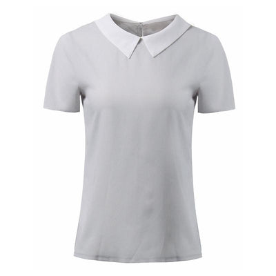 Women Blouses Turn Down Collar Short Sleeve Chiffon Shirts Slim Casual Blouse Plus Size Tops
