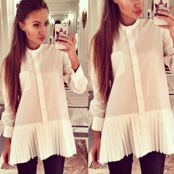 New Fashion Women Loose Chiffon Tops Long Sleeve Shirt Casual Blouse