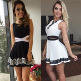 Sexy Women Casual Party Sleeveless Lace Short Mini Dress Hollow out waist Dresses