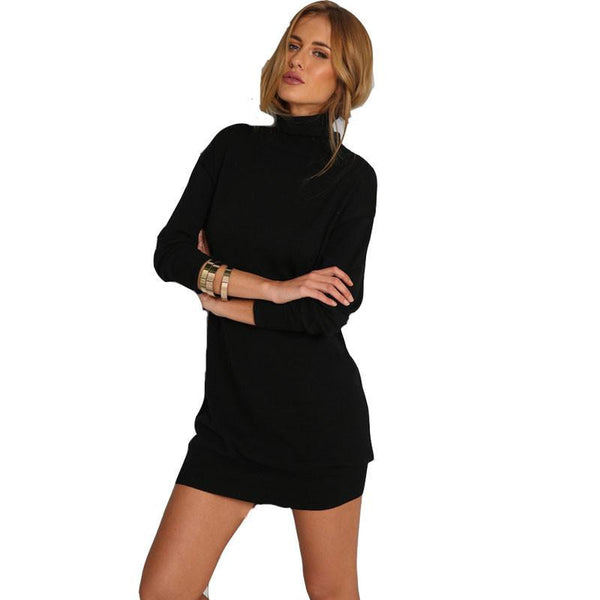 Women Black Sweater Dresses Autumn Long Sleeve Turtleneck Dress Loose Short Dress Elegent Knitted Straight Dress Vestidos
