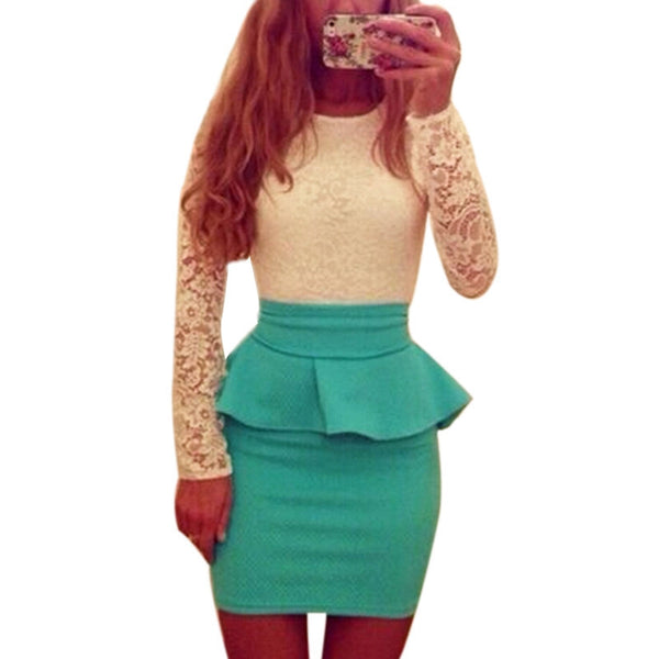 New Style Long Sleeve Women Patchwork O Neck Bodycon Sexy Lace Party Peplum Flounce Bandage Pencil Dress Plus Size Vestidos