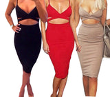 Online discount shop Australia - Ladies Women Sleeveless Sexy False 2 Piece Set Bandage Bodycon Dress Women White Black Club Summer Dress
