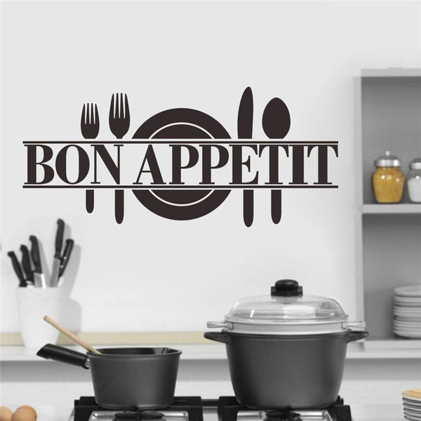Online discount shop Australia - bon appetit food wall stickers kitchen room decoration diy vinyl home decals art posters papers 3.5