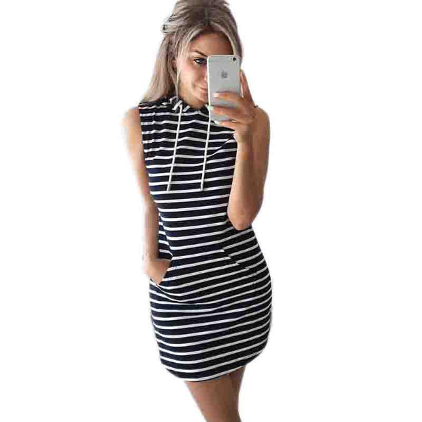 Summer Striped Dress Women Off Shoulder Dress Slim Cotton Hooded Dresses Pullover Pocket Short Soft Dresses Summer Beach
