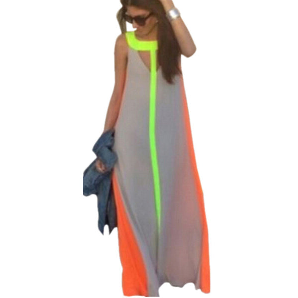 Online discount shop Australia - Boho Sexy Women O Neck Sleeveless Gradient Multicolor Dress Long Maxi Party Beach Dress Vestidos Robe Plus Size S-2XL