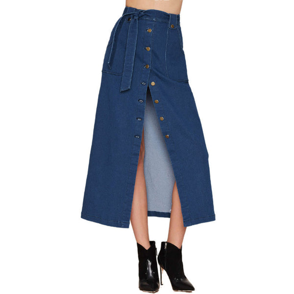 New Women Denim skirts Long Skirt High Waist Jeans Maxi Skirts jeans Casual Plus Size Skirt 995