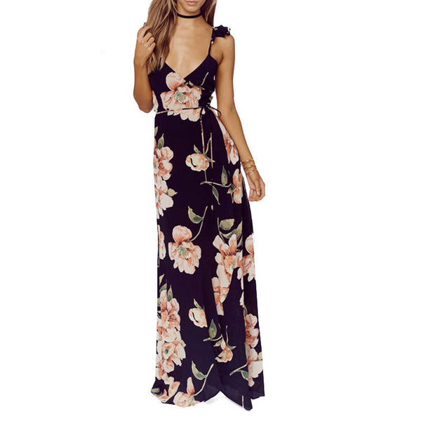 Online discount shop Australia - Fashion Womens Floral Print Backless Split Tie Maxi Dress Deep V-neck Sexy Party Loose Casual Dresses