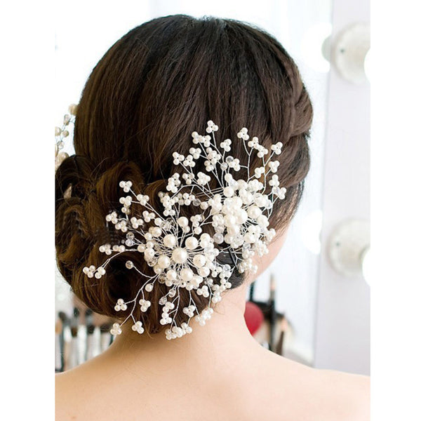 Online discount shop Australia - Hair Accessories Floral Wedding Pearl Crystal Bridesmaid Bridal Party Hair Comb Hairpin Hair Jewelry Hair Accessories for Women