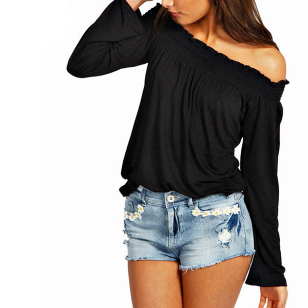 New Sexy Womens Blouses Ladies Solid Shirred Off Shoulder Tops Casual Blouse Shirts