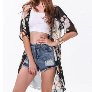 Style Women Casual Loose Chiffon Blouse Shirts Bohemian Floral Printed Long Cardigan Outwear Plus Size