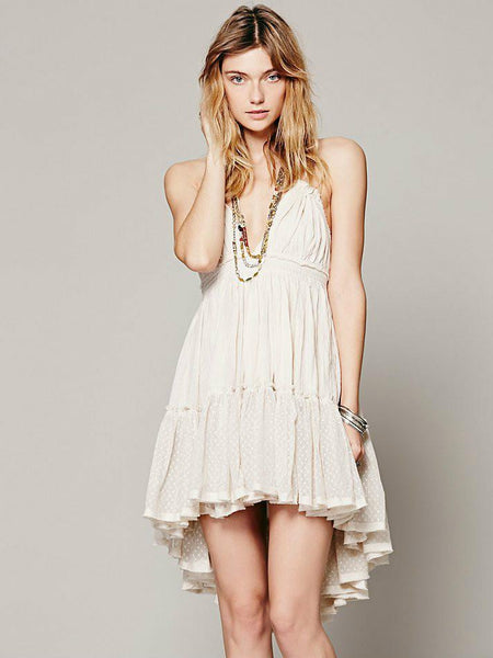 summer dress backless beach holiday lace dress strapless cute dress sexy short ball gown sweet pleated hot dress vestidos