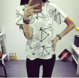 Women's T-shirt  Fashion Bicycles Printed T-shirt Round Neck Short-sleeved Bottoming