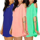 Women Girl Fashion 7 Colors Hollow Out Short Sleeves Candy Color Chiffon Dresses Vestidos