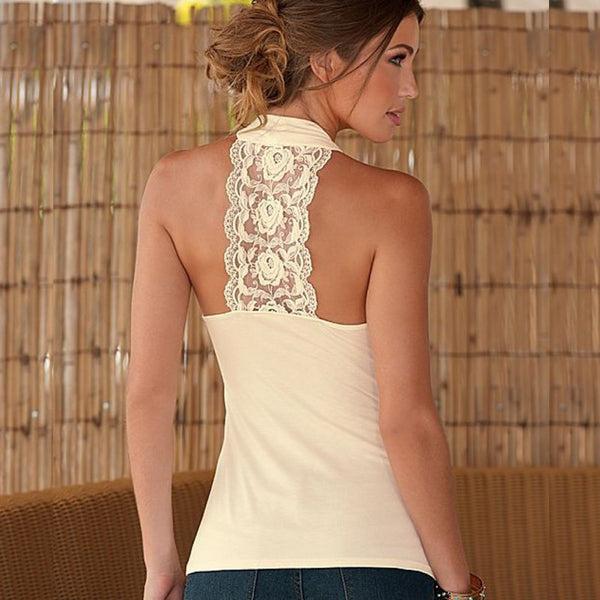 Online discount shop Australia - Charming  Women Tops Halter Neck Strapless Tank Sexy Backless Lace Stitching Vest Plus Size